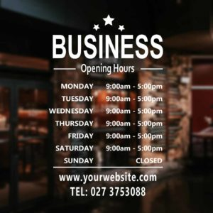 iproduction business hours window stickers